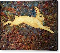 Running Rabbit Acrylic Print by James W Johnson