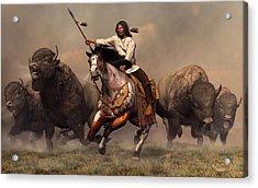 Running With Buffalo Acrylic Print by Daniel Eskridge