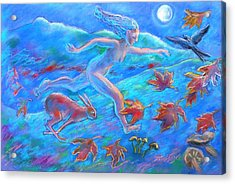 Running With The Hare Acrylic Print by Trudi Doyle
