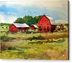 Rural Barns Acrylic Print by Spencer Meagher