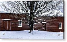 Rural Farmhouse Simplicity - A Winter Scenic Acrylic Print