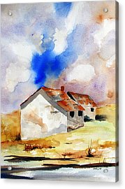 Rural Houses And Dramatic Sky Acrylic Print by Carlin Blahnik
