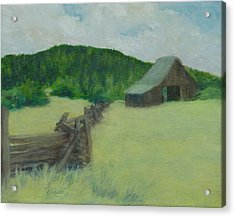 Rural Landscape Colorful Oil Painting Barn Fence Acrylic Print