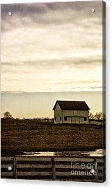 Rural Old Barn Behind Fence Acrylic Print by Birgit Tyrrell