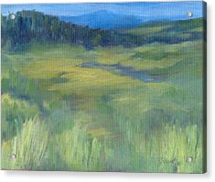 Rural Valley Landscape Colorful Original Painting Washington State Water Mountains K. Joann Russell Acrylic Print