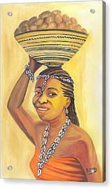 Rural Woman From Cameroon Acrylic Print by Emmanuel Baliyanga