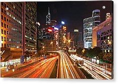 Rush Hour In Hong Kong Acrylic Print by Lars Ruecker