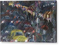 Rush Hour Rain  Acrylic Print