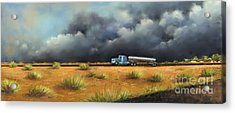Acrylic Print featuring the painting Rushing Home by Sgn