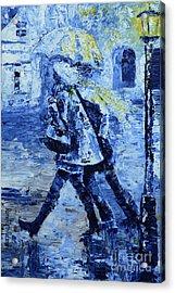 Rushing In The Rain  Acrylic Print by Roni Ruth Palmer