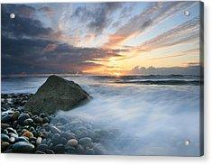 Rushing Water Sunset Acrylic Print