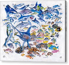 Russ Smiley Gamefish Collage Acrylic Print