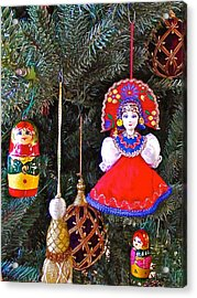 Russian Christmas Tree Decoration In Fredrick Meijer Gardens And Sculpture Park In Grand Rapids-mi Acrylic Print by Ruth Hager