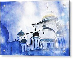 Russian Church In A Blue Cloud Acrylic Print