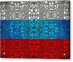 Russian Flag - Russia Stone Rock'd Art By Sharon Cummings Acrylic Print by Sharon Cummings