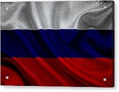 Russian Flag Waving On Canvas Acrylic Print by Eti Reid