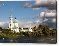 Russian_church_volga-river Acrylic Print by Elena Ouspenskaia