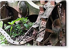 Rusted Axle Planter Acrylic Print by Michael Spano