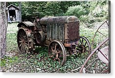 Rusted Mc Cormick-deering Tractor And Shed Acrylic Print by Michael Spano
