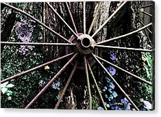 Rusted Spokes Acrylic Print by Michael Spano