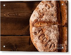 Rustic Bread Close Up Acrylic Print by Simon Bratt Photography LRPS