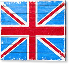 Rustic British Union Jack - Vintage Flag Acrylic Print by Mark E Tisdale