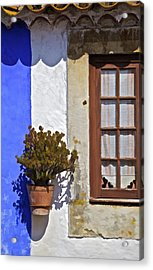 Rustic Brown Window Of The Medieval Village Of Obidos Acrylic Print by David Letts