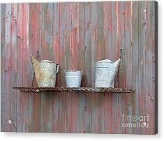 Rustic Garden Shelf Acrylic Print by Ann Horn