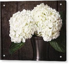 Rustic Hydrangea In A Bronze Vase With Barnwood Acrylic Print by Lisa Russo