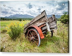 Rustic Landscapes - Wagon And Wildflowers Acrylic Print by Gary Heller