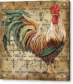 Rustic Rooster-jp2120 Acrylic Print