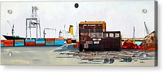 Rustic Schnitzer Steel Building And Ship Acrylic Print by Asha Carolyn Young