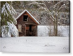 Rustic Shack In Snow Acrylic Print