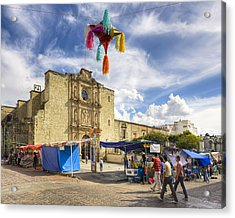 Rustic Spanish Colonial Church In Oaxaca Mexico Acrylic Print by Mark Tisdale