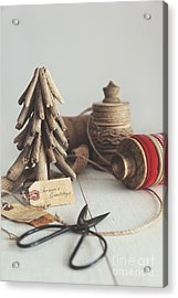 Acrylic Print featuring the photograph Rustic Twine And Ribbon For Wrapping Gifts by Sandra Cunningham