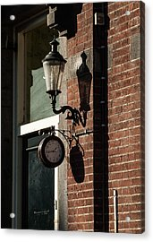 Rustic Wall Clock Against Facade Acrylic Print