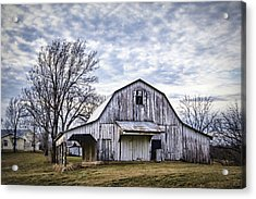 Rustic White Barn Acrylic Print by Cricket Hackmann