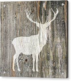 Rustic White Stag Deer Silhouette On Wood Right Facing Acrylic Print by Suzanne Powers