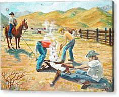 Acrylic Print featuring the painting Rustlers Changing The Brand by Dan Redmon