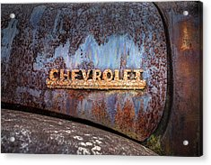 Acrylic Print featuring the photograph Rusty Chevrolet - Nameplate - Old Chevy Sign by Gary Heller