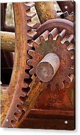 Rusty Metal Gears Acrylic Print by Phyllis Denton