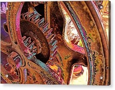 Acrylic Print featuring the photograph Rusty Neon Cog by David Rich