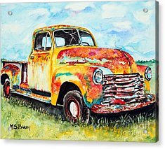 Rusty Old Truck Acrylic Print by Maria Barry