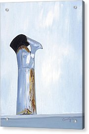 Acrylic Print featuring the painting Rusty Silver Chimney Stack by Asha Carolyn Young