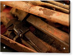 Rusty Toolbox And Tools Acrylic Print by Wilma  Birdwell