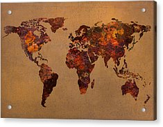 Rusty Vintage World Map On Old Metal Sheet Wall Acrylic Print by Design Turnpike