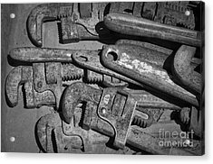 Rusty Wrenches Bw Acrylic Print by Dave Gordon