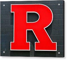Rutgers Block R Acrylic Print by Allen Beatty