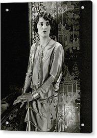 Ruth Elder Wearing A Satin Dress Acrylic Print