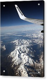 Ryanair Over The Alps Acrylic Print by Ros Drinkwater